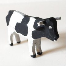 "Vintage Handpainted Wooden Cow ~ 1-1/2"" ~ Made in Erzgebirge Germany ~ Old Store Stock"
