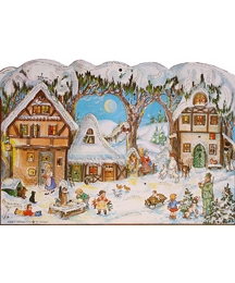 Moonlit Village Vintage Style Advent Calendar