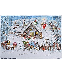 Snow Cabin Vintage Style Advent Calendar