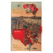 Love's Telephone Moving Valentine Postcard