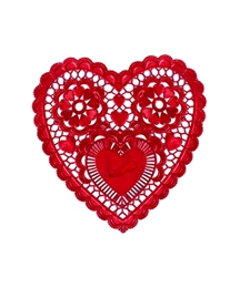4 Red Foil Heart Doilies ~ 6""