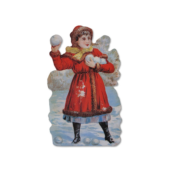 Victorian Girl with Snow Balls Card