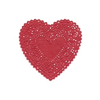 10 Light Red Heart Doilies ~ 4""