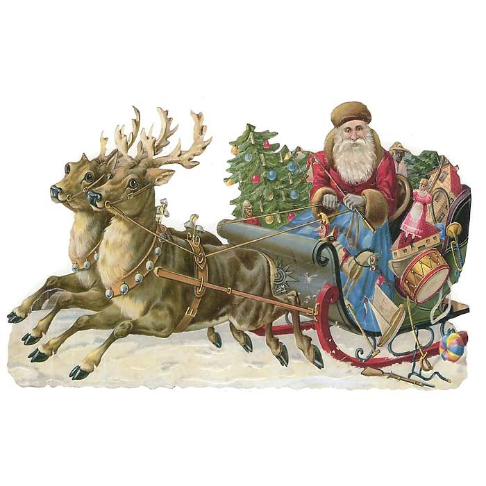 Large Santa in Sleigh Scrap ~ Germany