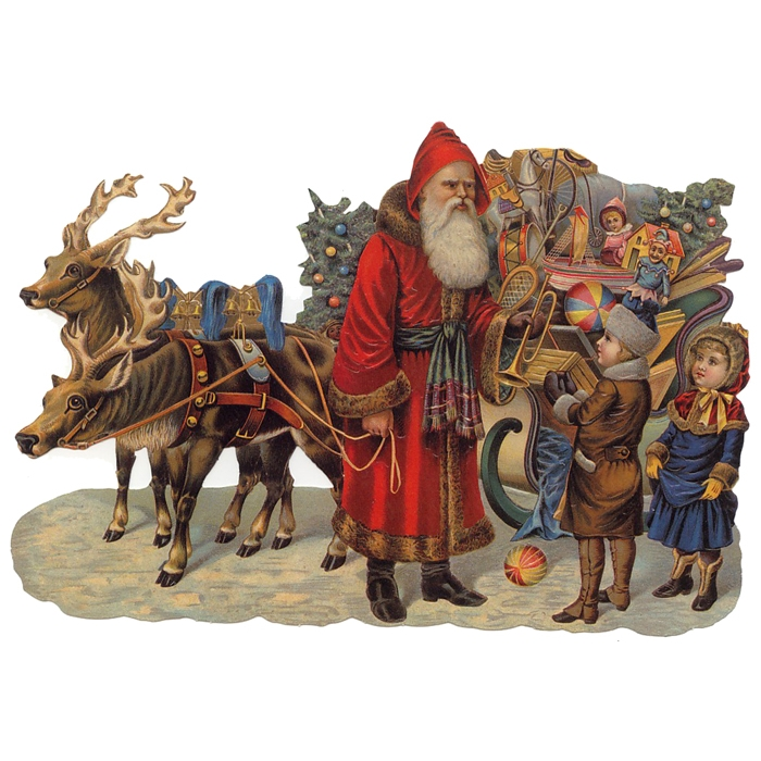 Large Santa & Reindeer Sleigh Scrap ~ Germany