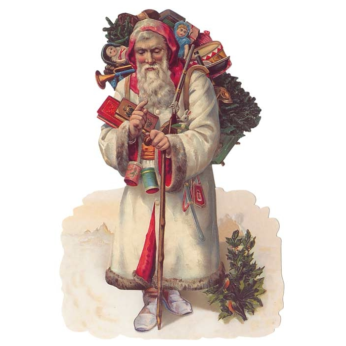 Large Victorian Santa in White Coat ~ Germany