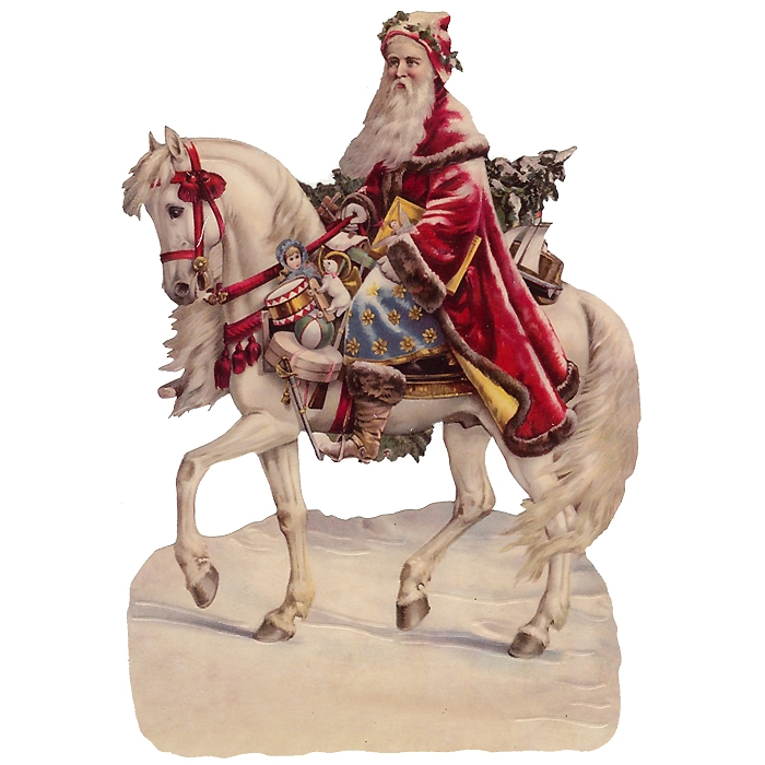Large Victorian Santa on Horse Scrap ~ Germany