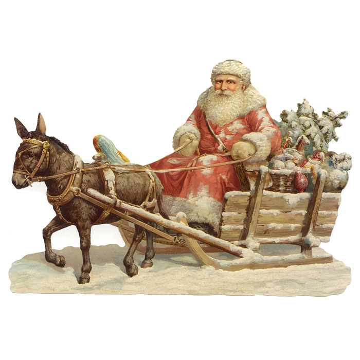 Large Snowy Country Santa Scrap ~ Germany ~ New for 2012