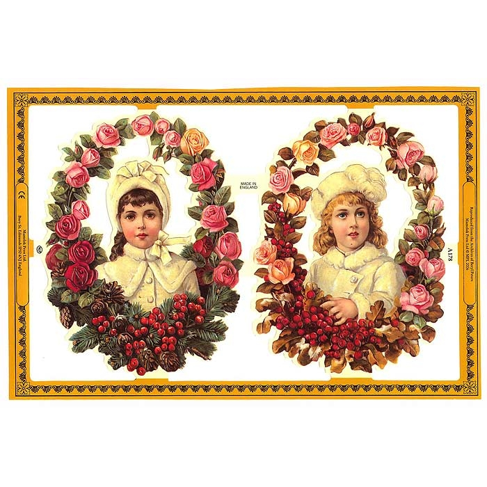 Christmas Decorations In Victorian England: Victorian Children In Holly Border Scraps