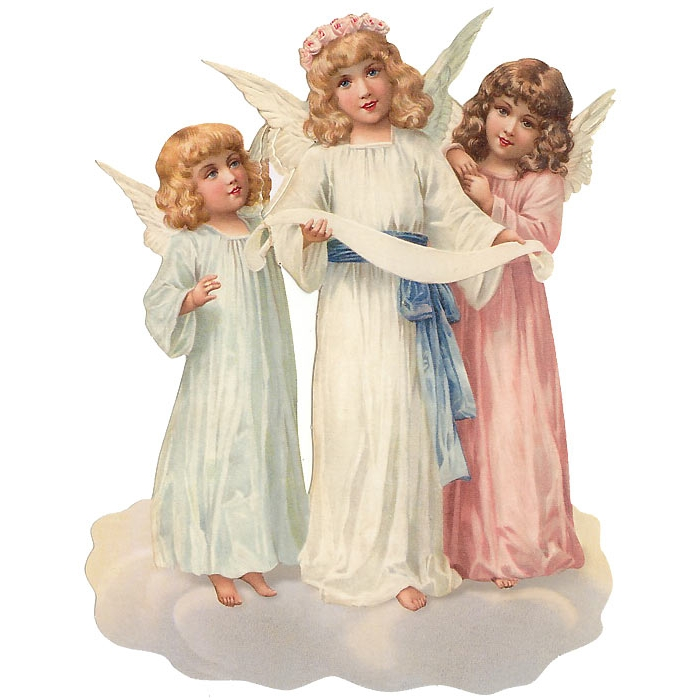 Large Scrap with Trio of Standing Angels ~ Germany ~ New for 2014