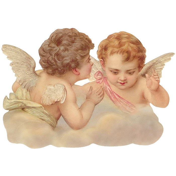 Large Scrap with Two Cherubs ~ Germany ~ New for 2014