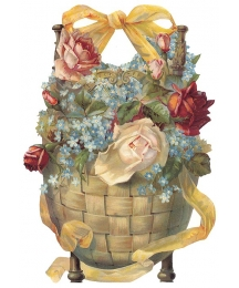 Large Roses and Forget Me Nots in Basket Scrap ~ Germany ~ New for 2013