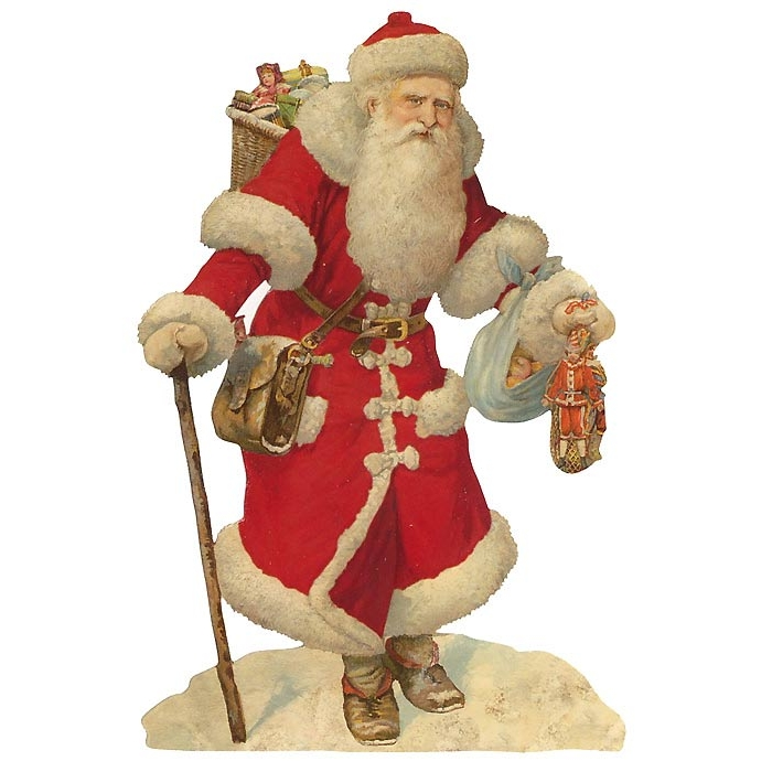 Large Victorian Red Coat Santa with Staff Scrap ~ Germany ~ New for 2013