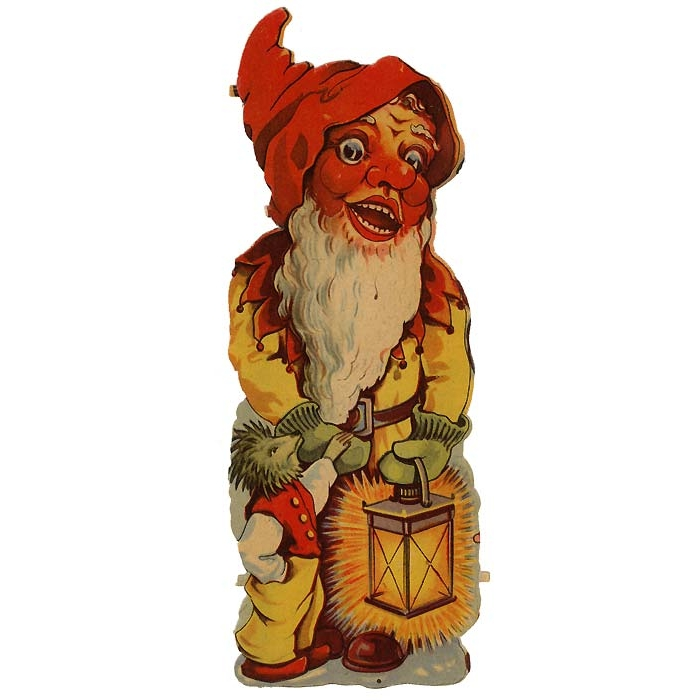 Extra Large Gnome with Lantern Vintage Scrap ~ Germany