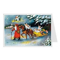Santa with Angels Sleigh Advent Calendar Card ~ Germany