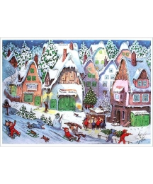 "Snowman and Pastel Winter Village Advent Calendar ~ 11-5/8"" x 8-1/4"""
