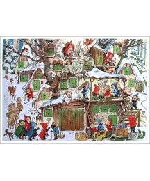 "Snowy Gnome Tree Stump Advent Calendar ~ 11-5/8"" x 8-1/4"""