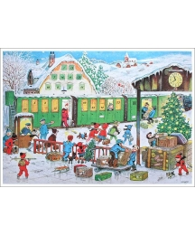 "Christmas Train Station Advent Calendar ~ 11-5/8"" x 8-1/4"""