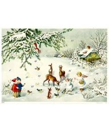 "Feeding the Deer Advent Calendar ~ 11-5/8"" x 8-1/4"""
