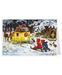 Gnome Mail Delivery Advent Calendar Card ~ Germany