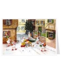 Angels Delivering Gifts Advent Calendar Card ~ Germany