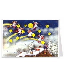 Angels on Shooting Stars Advent Calendar Card ~ Germany