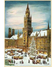 "Munich Christmas Market Advent Calendar ~ Germany ~ 14-3/4"" x 10-1/4"""