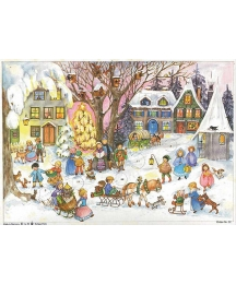 Christmas Caroling in the Snowy Village Paper Advent Calendar