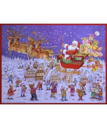 Santa and Reindeer Sleigh German Advent Calendar