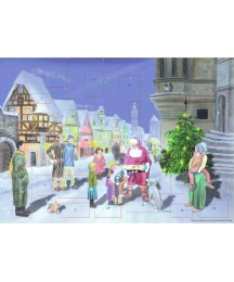 "Santa's Village Visit Advent Calendar ~ 14-1/2"" x 10-1/4"""