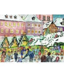 "Village Christmas Market Advent Calendar ~ 14-1/2"" x 10-1/4"""