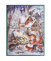 "Snowy Cottage Vintage Style Advent Calendar ~ 11-1/4"" x 8-1/4"""
