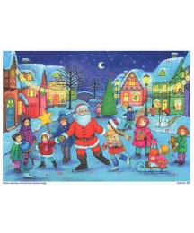 """Santa and Angels Preparing for Christmas Colorful Paper Advent Calendar ~ 11-1/2"""" x 8-1/4"""""""
