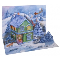 Pop-up 3-D Snowy Cottage Free Standing Advent Calendar ~ England