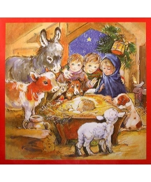 Children and Animals Visit the Manger Religious Advent Calendar ~ England