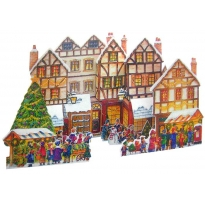 Elaborate 3-D Village Scene Free Standing Large Advent Calendar ~ England