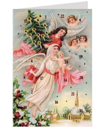"Angels with Tree Advent Calendar Card from Austria ~ 6-3/4"" x 4-1/2"""