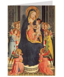 "Madonna with Child and Angels Advent Calendar Card from Austria ~ 6-3/4"" x 4-1/2"""