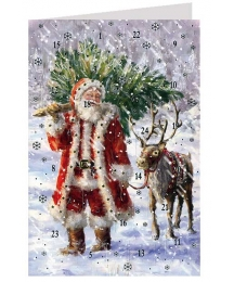 "Santa with Reindeer Advent Calendar Card from Austria ~ 6-3/4"" x 4-1/2"""
