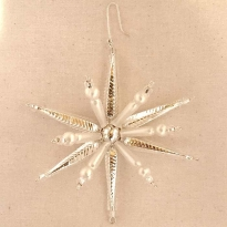"Silver and Matte White Starburst Glass Bead Ornament ~ 3-1/2"" ~ Czech Republic"