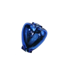 "7 Blue Heart Blown Glass Beads .625"" ~ Czech Republic"