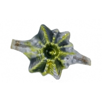 """Large Chartreuse Green Star Victorian-style Blown Glass Bead ~ Germany ~ 1-3/4"""""""