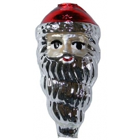 "Extra Large Silver Santa Face Figural Glass Bead 3"" ~ Czech Republic"