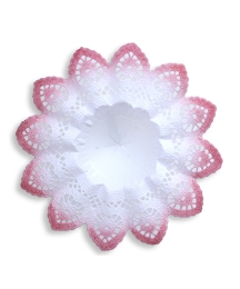 Medium Paper Lace Bouquet Holder in White with Dusty Rose ~ 1