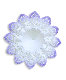 Medium Paper Lace Bouquet Holder in White with Lilac ~ 1