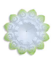 Medium Paper Lace Bouquet Holder in White with Spring Green ~ 1