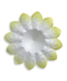 Medium Paper Lace Bouquet Holder in White with Yellow ~ 1
