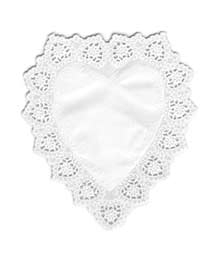 10 Medium White Heart Doilies ~ Germany ~ 6 3/4""