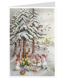 Angels Feeding Deer Advent Calendar Card ~ Germany ~ New for 2013