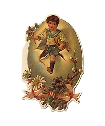 Victorian Boy and Egg Vintage Easter Card